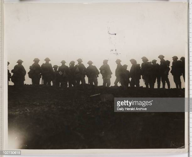 'Reserve troops waiting to move up to the forward area' France WWI 1916 British soldiers during the Battle of the Somme in northern France A group of...