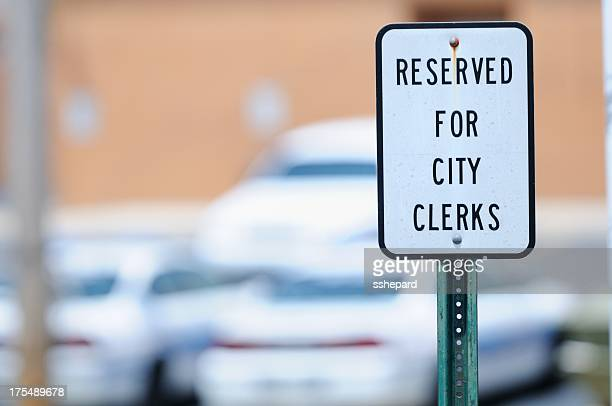 Reserved for city clerks sign