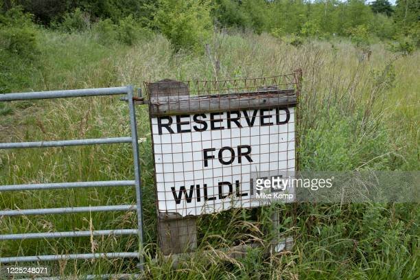 Reserved for wildlife sign at the edge of a wildlife reserve on 20th June 2020 in Studley, United Kingdom. A nature reserve, also known as a natural...