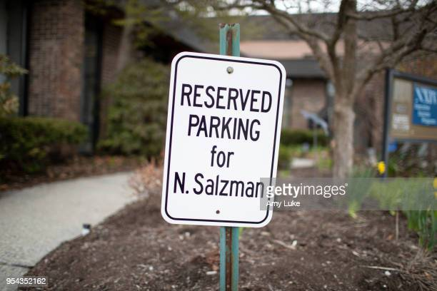 A reserved parking sign for NXIVM president Nancy Salzman outside of the group's office at 455 New Karner Road on April 26 2018 in Albany New York...