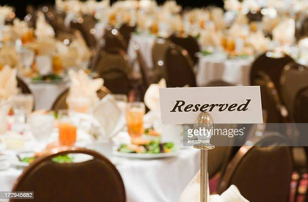 Reserved Sign on Banquet Table