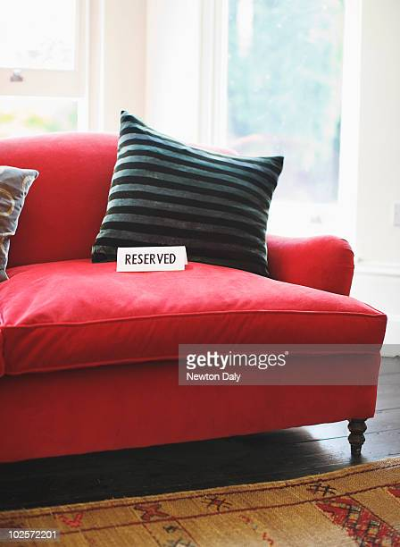 Reserved sign on sofa