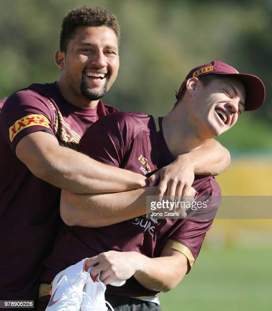 Reserves player Gehamat Shibasaki hugs Kalyn Ponga during a Queensland Maroons State of Origin training session at Sanctuary Cove on June 20 2018 in...