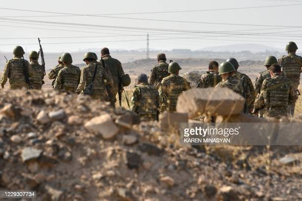 Reservists undergo a military training before leaving for the frontline in Nagorno-Karabakh, at a range in Armenia's Armavir region on October 27,...