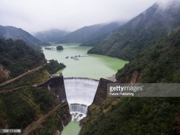Reservoir flood discharge is fanshaped Guilin City Guangxi China January 11 2019
