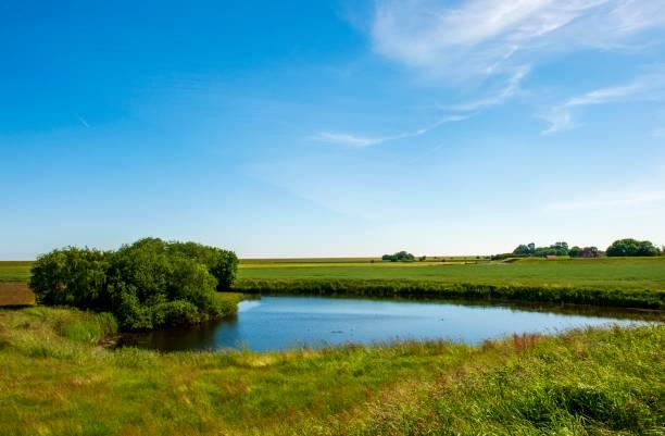 Reservoir in Nessmersiel, municipality of Dornum, East Frisia, Lower Saxony, Lower Saxony Wadden Sea National Park, Germany