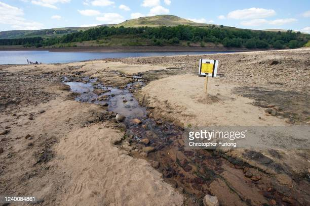 Reservoir in the Longdendale Valley shows reduced water levels after the UK recorded the the driest May on record since 1896 on June 01, 2020 in...