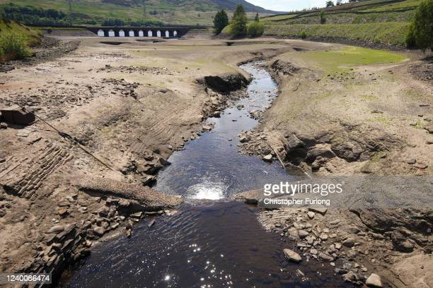 A reservoir in the Longdendale Valley shows reduced water levels after the UK recorded the the driest May on record since 1896 on June 01 2020 in...
