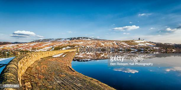 reservoir panorama blue sky water reflection light - south yorkshire stock pictures, royalty-free photos & images