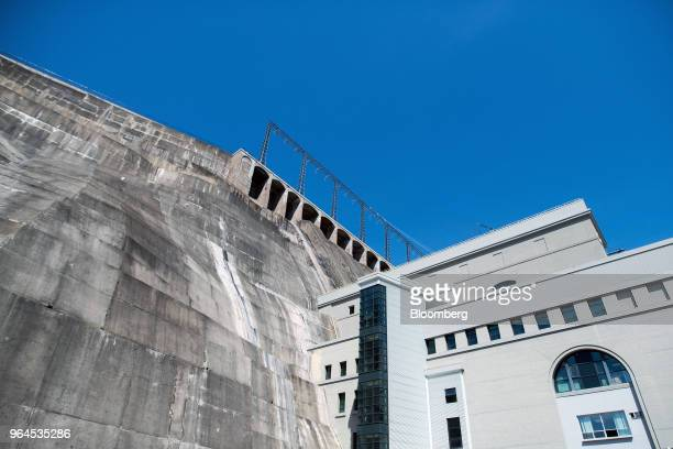 Reservoir retaining walls and overflow chutes sit above the turbine facility at the Ontario Power Generation Inc. Sir Adam Beck Generating Station...