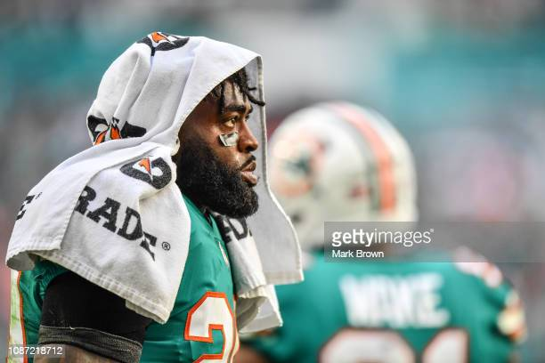 Reshad Jones of the Miami Dolphins in action against the Jacksonville Jaguars at Hard Rock Stadium on December 23 2018 in Miami Florida
