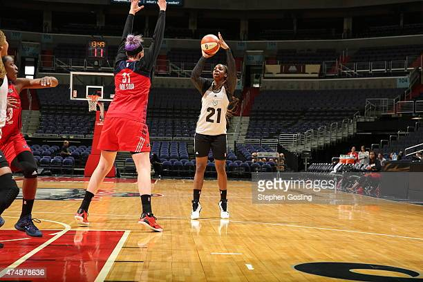 Reshanda Gray of the Minnesota Lynx shoots against the Washington Mystics during an Analytic Scrimmage at the Verizon Center on May 26 2015 in...