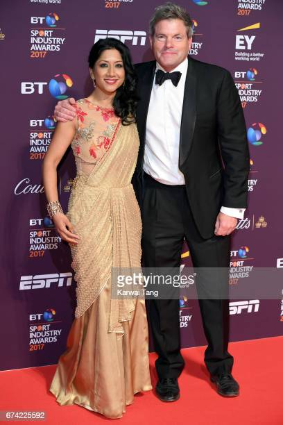 Reshmin Chowdhury and Mark DurdenSmith attend the BT Sport Industry Awards at Battersea Evolution on April 27 2017 in London England