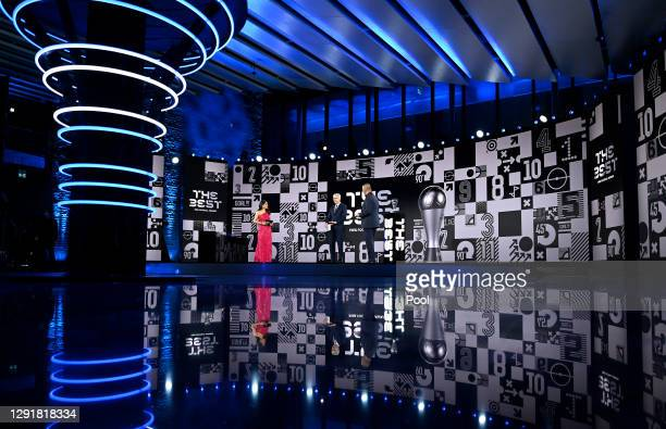 Reshmin Chowdhury and Ruud Gullit interview Arsene Wenger on stage during the The Best FIFA Football Awards on December 17, 2020 in Zurich,...