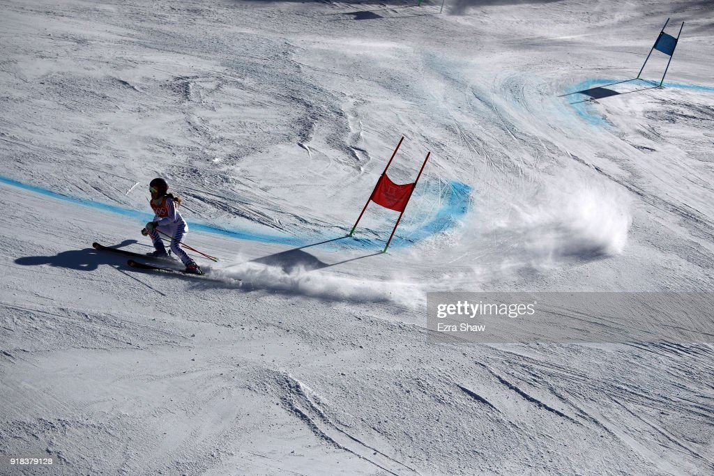 Resi Stiegler of the United States competes during the Ladies' Giant Slalom on day six of the PyeongChang 2018 Winter Olympic Games at Yongpyong Alpine Centre on February 15, 2018 in Pyeongchang-gun, South Korea.