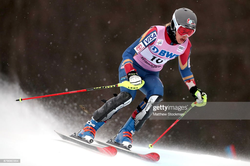 Resi Stiegler #16 of the United States competes in the first run during the Slalom competition during the Audi FIS Ski World Cup - Killington Cup on November 26, 2017 in Killington, Vermont.