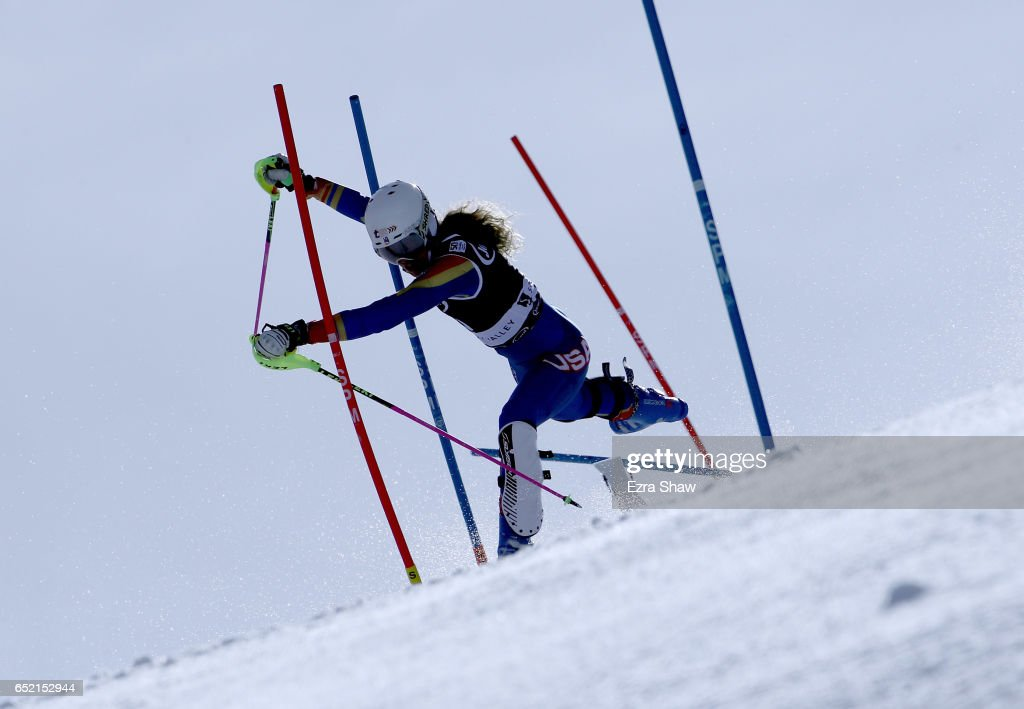 Resi Stiegler of the United States crashes during the first run of the Audi FIS World Cup Ladies' Slalom on March 11, 2017 in Squaw Valley, California.