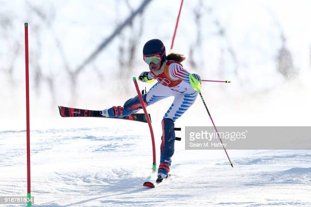 Resi Stiegler of the United States crashes during the Ladies' Slalom Alpine Skiing at Yongpyong Alpine Centre on February 16 2018 in Pyeongchanggun...