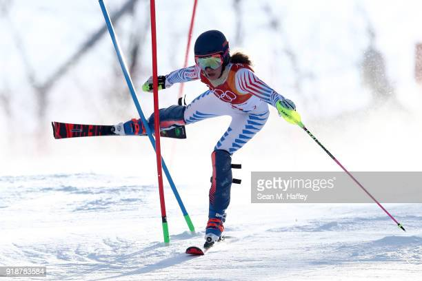 Resi Stiegler of the United States crashes during the Ladies' Slalom Alpine Skiing at Yongpyong Alpine Centre on February 16 2018 in Pyeongchanggun...