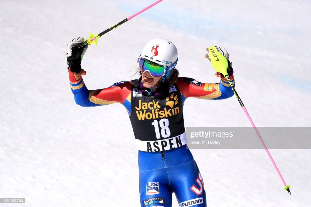 Resi Stiegler of the United States reacts after her second run of the Ladies' Slalom during the 2017 Audi FIS Ski World Cup Finals at Aspen Mountain on March 18, 2017 in Aspen, Colorado.