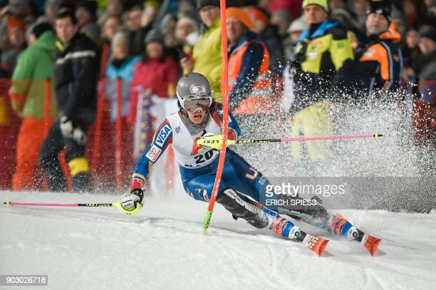 Resi Stiegler of the USA competes during first run of the FIS World Cup Ladies night Slalom race in FlachauAustria on January 9 2018 / AFP PHOTO /...