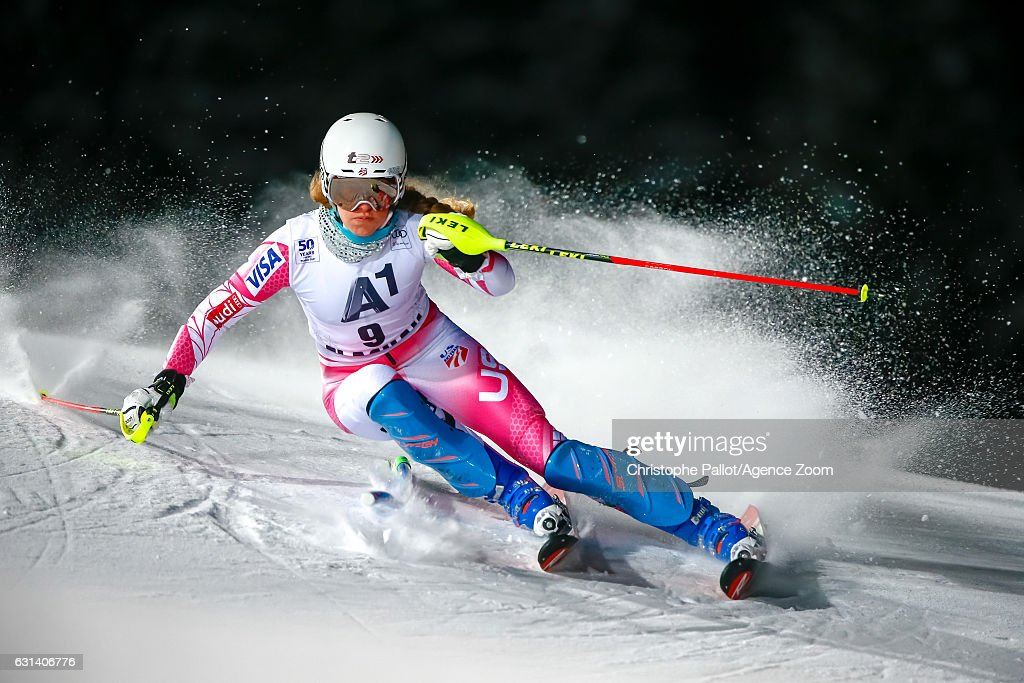 Resi Stiegler of USA competes during the Audi FIS Alpine Ski World Cup Women's Slalom on January 10, 2017 in Flachau, Austria
