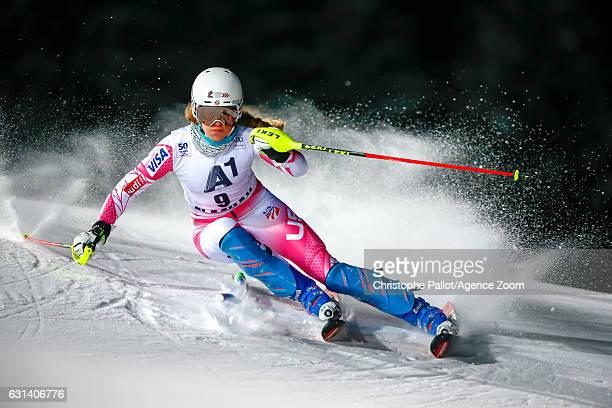Resi Stiegler of USA competes during the Audi FIS Alpine Ski World Cup Women's Slalom on January 10 2017 in Flachau Austria