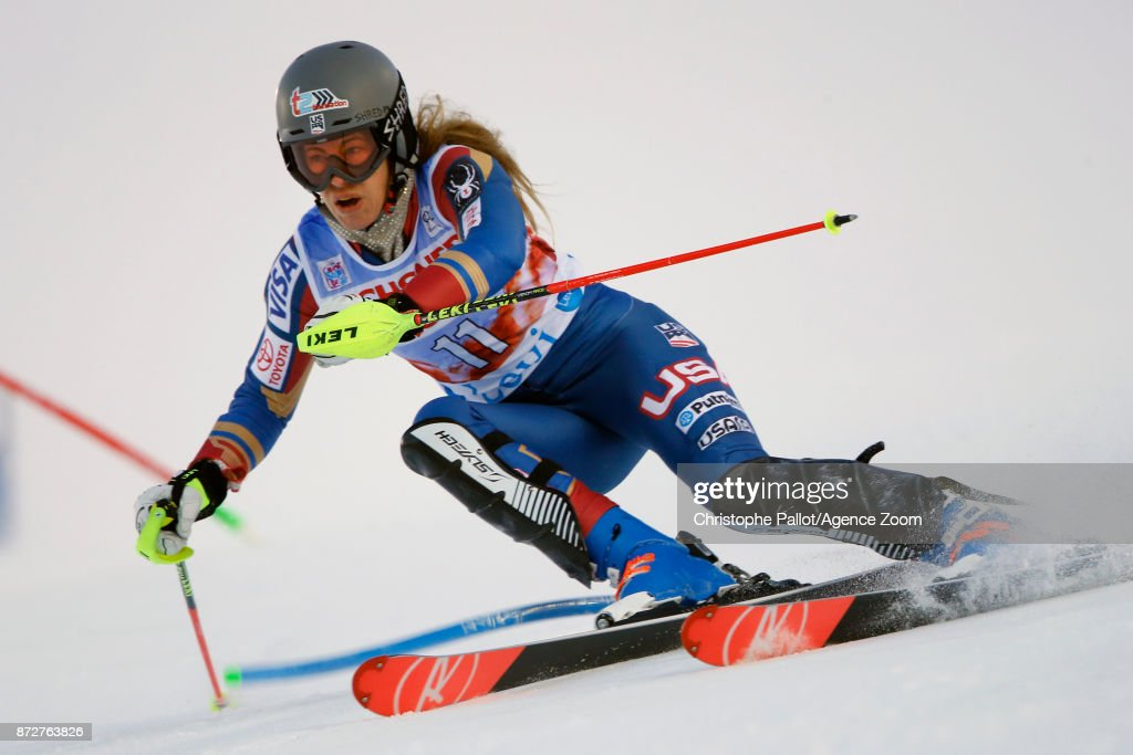 Resi Stiegler of USA competes during the Audi FIS Alpine Ski World Cup Women's Slalom on November 11, 2017 in Levi, Finland.