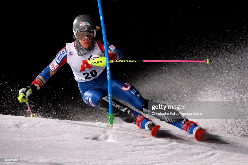 Resi Stiegler of USA during the Audi FIS Alpine Ski World Cup Women's Slalom on January 9, 2018 in Flachau, Austria.