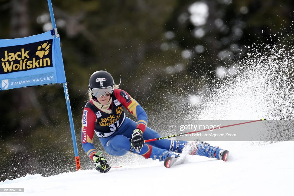 Resi Stiegler of USA in action during the Audi FIS Alpine Ski World Cup Women's Giant Slalom on March 10, 2017 in Squaw Valley, California