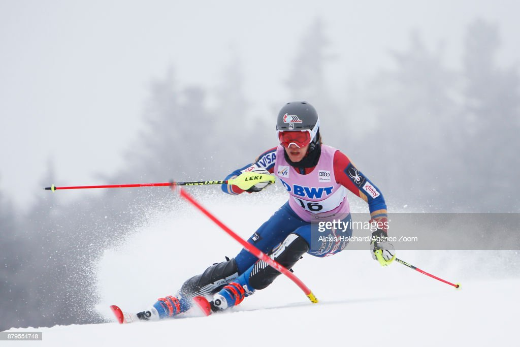 Resi Stiegler of USA in action during the Audi FIS Alpine Ski World Cup Women's Slalom on November 26, 2017 in Killington, Vermont.
