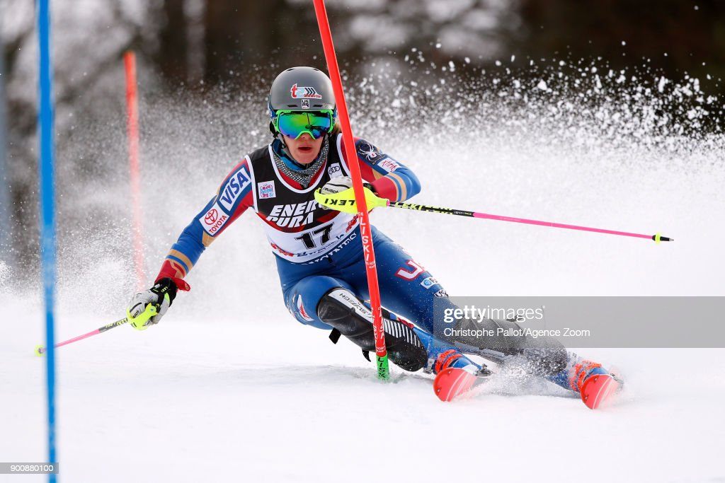Resi Stiegler of USA in action during the Audi FIS Alpine Ski World Cup Women's Slalom on January 3, 2018 in Zagreb, Croatia.