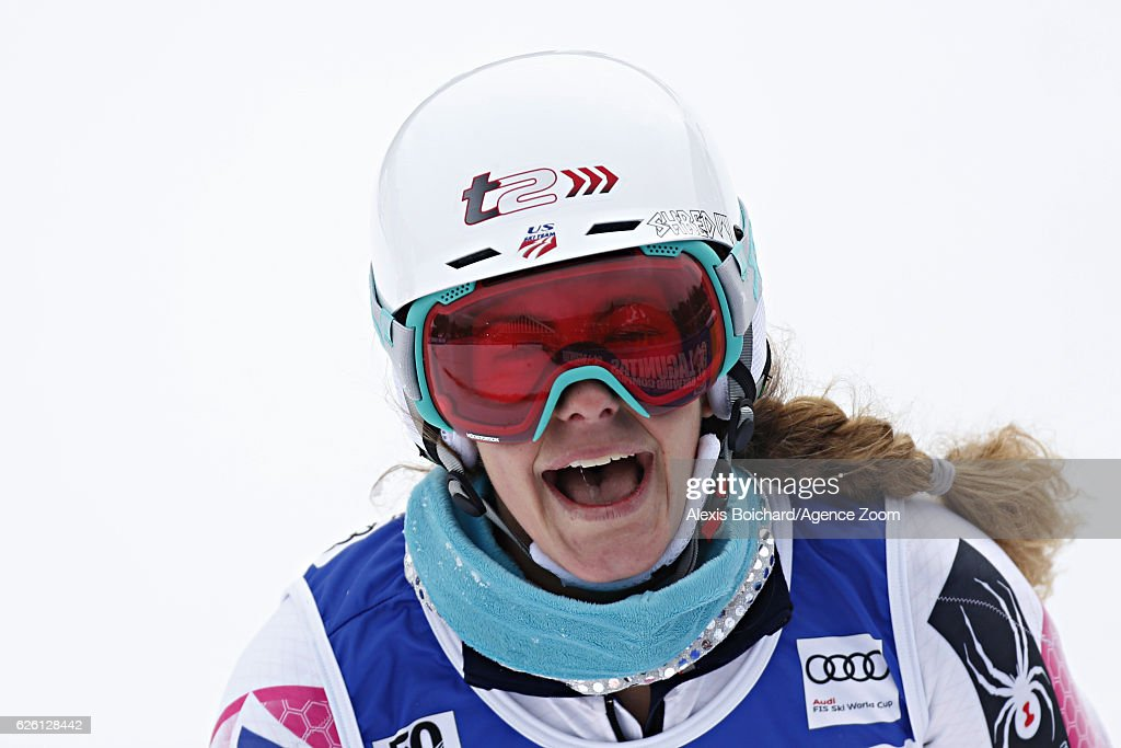 Resi Stiegler of USA reacts during the Audi FIS Alpine Ski World Cup Women's Slalom on November 27, 2016 in Killington, Vermont.