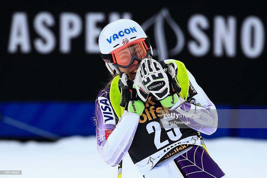 Resi Stiegler reacts after her second run as she finished 11th in the ladies slalom at the 2014 Audi FIS Ski World Cup at the Nature Valley Aspen Winternational at Aspen Mountain on November 30, 2014 in Aspen, Colorado.