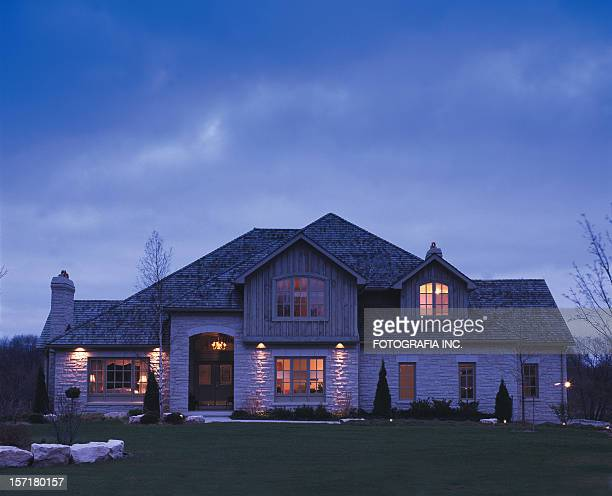 residence at night - brick house stock pictures, royalty-free photos & images