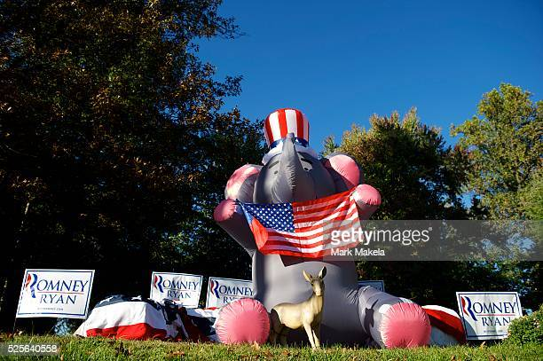 A residence in Danville Kentucky the setting for the Vice Presidential Debate with Joe Biden and Paul Ryan displays a Republican elephant and...