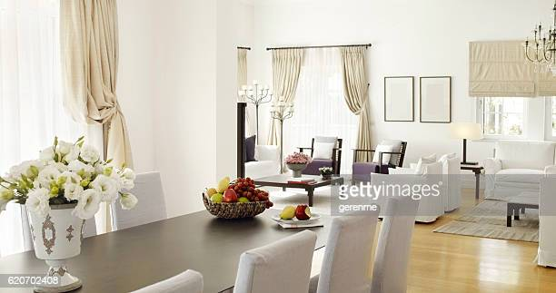 residence interior - dining room stock pictures, royalty-free photos & images