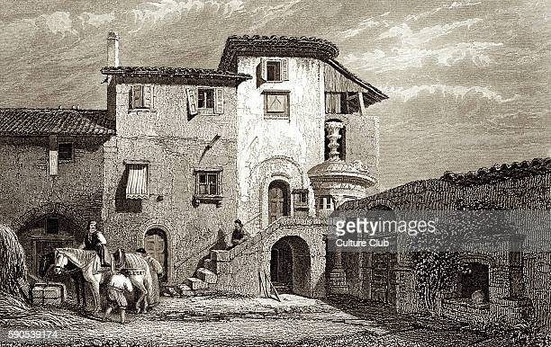 Residence of Lord Byron 1811 Engraving by Edward Francis Finden shows a Franciscan Convent in Athens after drawing by C Stanfield from a sketch by W...