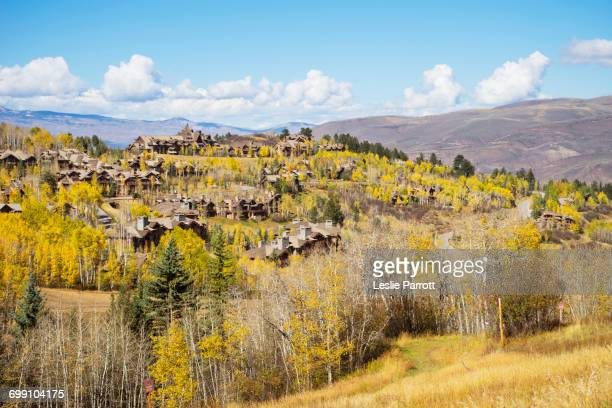 Residences on the mountain side of Bachelor Gulch with golden Fall foliage
