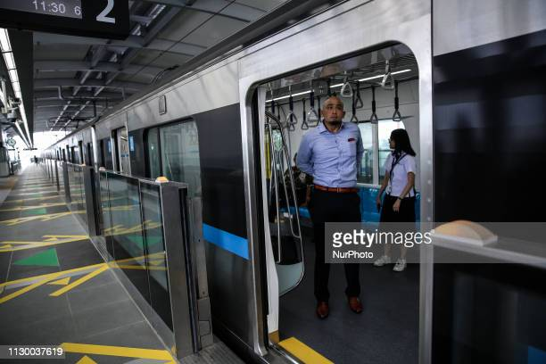 Resident are invited for a testride on Jakarta Mass Rapid Transit train during a trial operation for public in Jakarta Indonesia on March 12 2019...