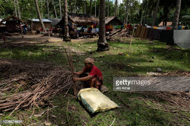 A resident displaced by the fighting against ISinspired forces gathers dried coconut leaves for firewood on August 22 in Mamasapano Maguindanao...