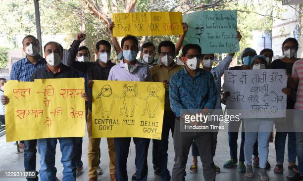 Resident Doctors of Katurba Hospital protest during their on going strike for release their monthly wages in front of hospital gate on October 27,...