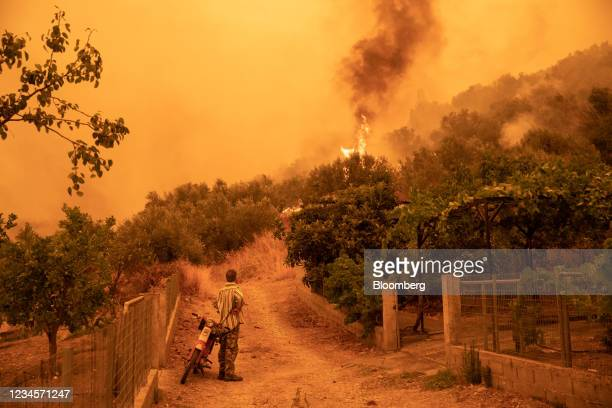Resident monitors wildfire surrounding the village of Gouves, on the island of Evia, Greece, on Sunday, Aug. 8, 2021. Thousands of residents were...