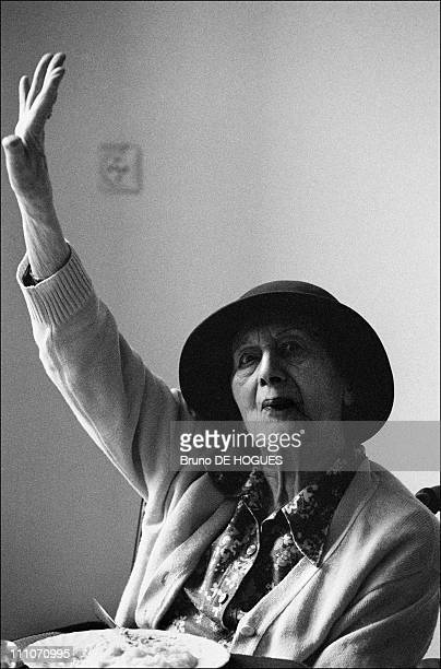 """Resident Mrs Leloup at """"Sacred heart"""" Retirement home in Gentilly, France on September 01, 1998."""