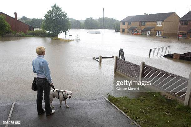 A resident of Catcliffe Village surveys one of the flooded streets of her village This was one of the communities flooded when a freak tropical storm...
