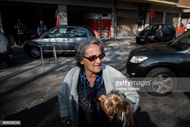 Resident of Ostia's city hall walks on the street to protest against the evictions and deterioration of the suburb of Rome on October 31 2017 in Rome...