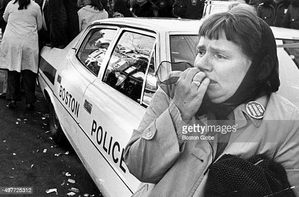 A resident of South Boston reacts during a riot near South Boston High School in Boston on Dec 11 1974 The clash between police and a crowd of 1500...