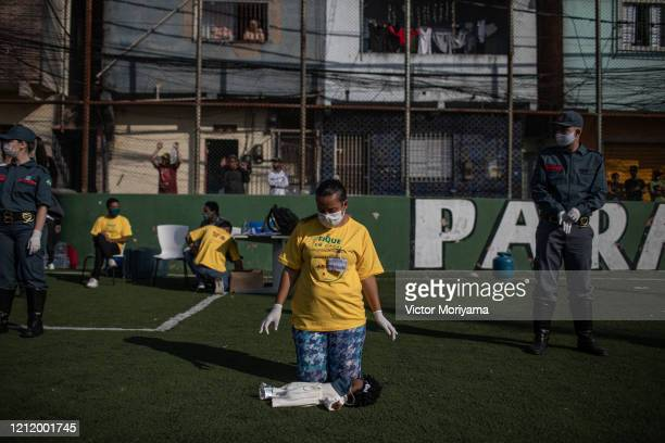 A resident of the Paraisópolis slum provides first aid training on May 6 2020 in Sao Paulo Brazil The local community organizes itself to fight...