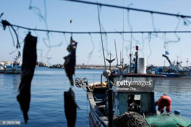 A resident of Yangyang cleans her fishing boat for fishing octopus and crabs at Namai port in Yangyang Ganwon province in South Korea on February 1...