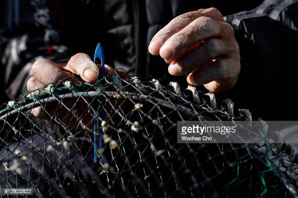 A resident of Yangyang repairs their nets for fishing octopus and crabs at Namai port in Yangyang Ganwon province in South Korea on February 1 2018...